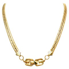 "20th Century Gold Plate ""GG"" Logo Choker Style Necklace By, Givenchy"