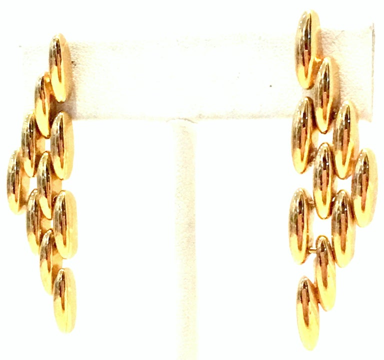 20th Century Gold Plate Link Drop Earrings By, Napier. These pierced post style earrings are designed with a