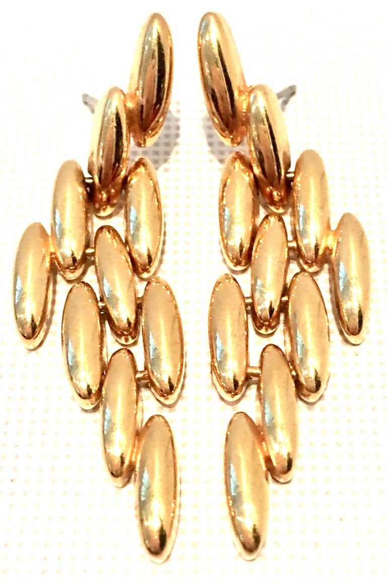 20th Century Gold Plate Link Drop Earrings By, Napier For Sale 1