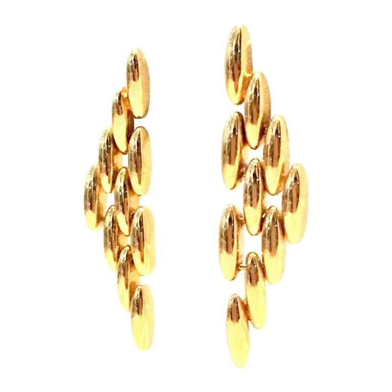 20th Century Gold Plate Link Drop Earrings By, Napier For Sale