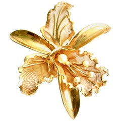 20th Century Gold Plate Mesh & Faux Pearl Dimensional Flower Brooch