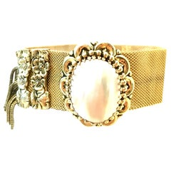 20th Century Gold Plate Metal Mesh & Mother Of Pearl Bracelet By, Whiting Davis