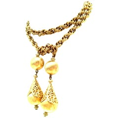 20th Century Gold Plate Rope Lariat Necklace