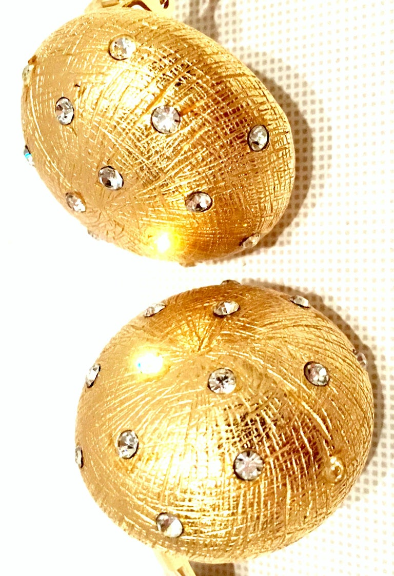 Women's or Men's 20th Century Gold Plate & Swarovski Crystal Earrings By, Christian Dior For Sale