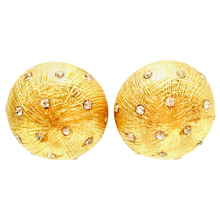20th Century Gold Plate & Swarovski Crystal Earrings By, Christian Dior For Sale
