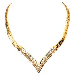 "20th Century Gold Plate & Swarovski Crystal ""V"" Necklace By, Christian Dior"