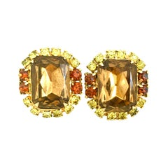 20th Century Gold Plate & Topaz Austrian Crystal Pair Of Clip Style Earrings