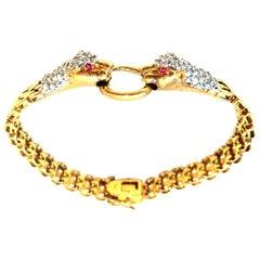 "20th Century Gold Plated 925 Sterling Link & Austrian Crystal ""Snake"" Bracelet"