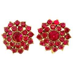 20th Century Gold & Rose Cut Garnet Dimensional Earrings