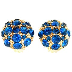 20th Century Gold & Sapphire Blue Swarovski Crystal Earrings
