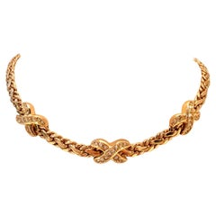 20th Century Gold & Swaorovski Crystal Choker Style Necklace By, Christian Dior