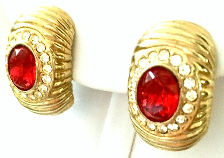 20th Century Gold & Swarovski Cry stal Earrings By, Christian Dior In Good Condition For Sale In West Palm Beach, FL