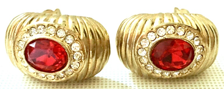20th Century Gold & Swarovski Cry stal Earrings By, Christian Dior For Sale 1