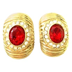 20th Century Gold & Swarovski Cry stal Earrings By, Christian Dior