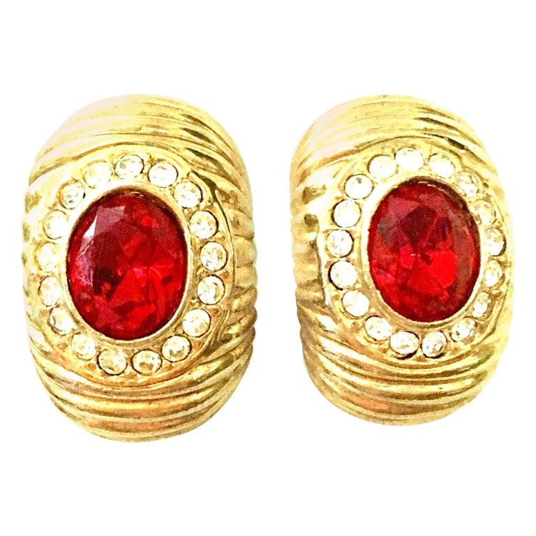 20th Century Gold & Swarovski Cry stal Earrings By, Christian Dior For Sale