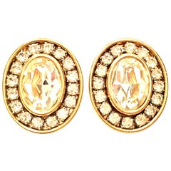 20th Century Gold & Swarovski Crystal Earrings By, Givenchy