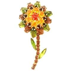 "20th Century ""Julianna"" Style Gold & Swarovski Crystal Flower Brooch"