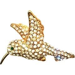20th Century Gold & Swarovski Crystal Hummingbird Brooch