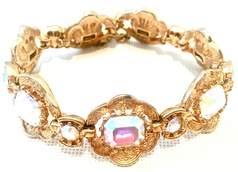20th Century Gold Plate & Swarovski Aurora Borealis Crystal Seven Link Bracelet By, Coro. Each link is approximately, 1