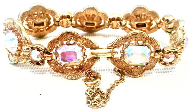 20th Century Gold & Swarovski Crystal Link Style Bracelet By, Coro In Good Condition For Sale In West Palm Beach, FL