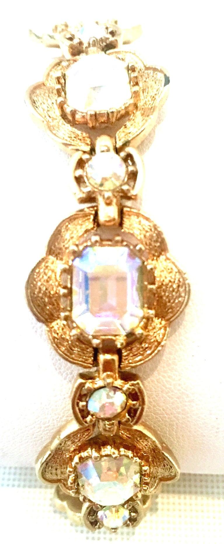 Women's or Men's 20th Century Gold & Swarovski Crystal Link Style Bracelet By, Coro For Sale