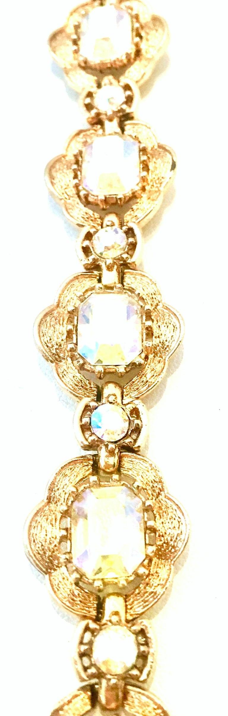 20th Century Gold & Swarovski Crystal Link Style Bracelet By, Coro For Sale 1