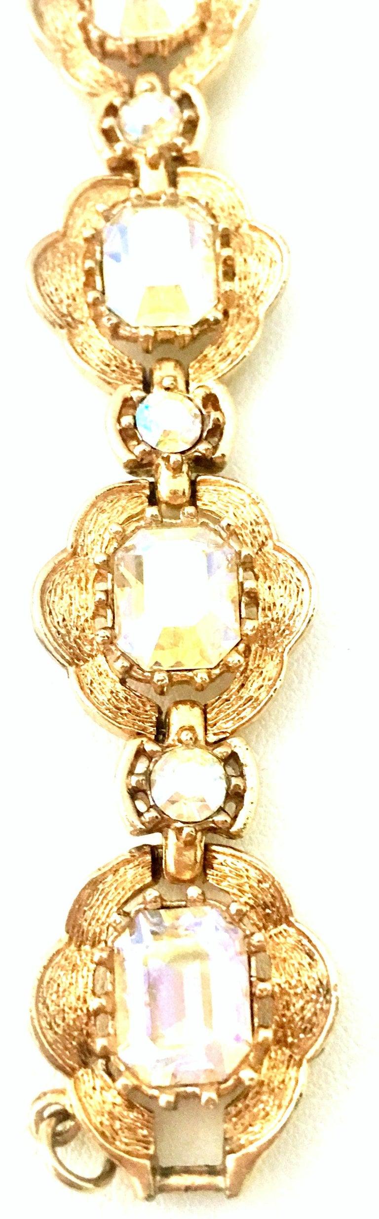 20th Century Gold & Swarovski Crystal Link Style Bracelet By, Coro For Sale 2