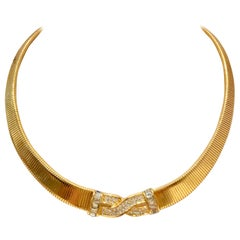 20th Century Gold & Swarovski Crystal Necklace By, Christian Dior