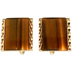 20th Century Gold Plate & Tigers Eye Cufflinks By, Dante