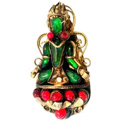 20th Century Gold Vermeil & Molded Glass Abstract Buddha Brooch
