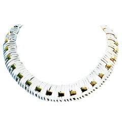 20th Century Gold & White Enamel Choker Style Necklace By, Trifari