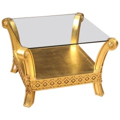 20th Century Gold Wood and Plaster with Glass Top French Coffee Table, 1970