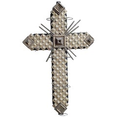 20th Century Golden Wood Cross with Photophores