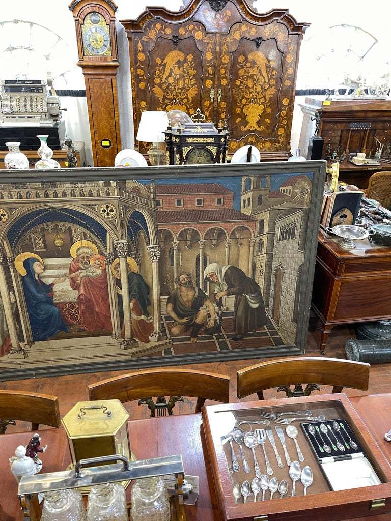 Italian 20th Century Gothic Painting Oil on Canvas Gentile da Fabriano, 1900s For Sale