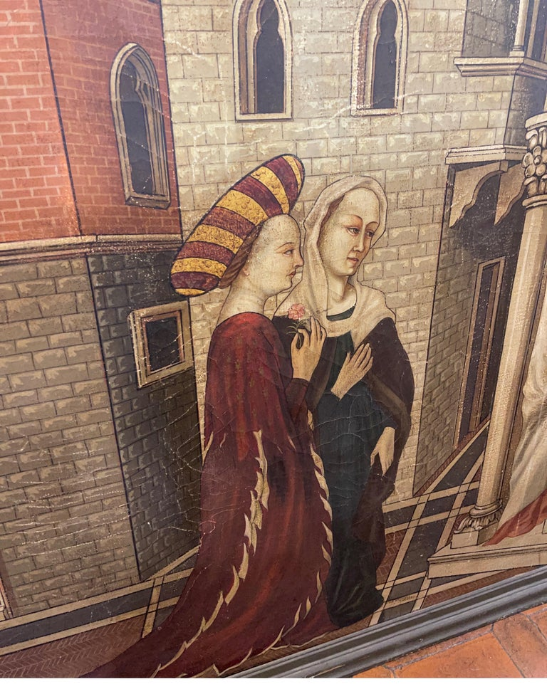 Oiled 20th Century Gothic Painting Oil on Canvas Gentile da Fabriano, 1900s For Sale