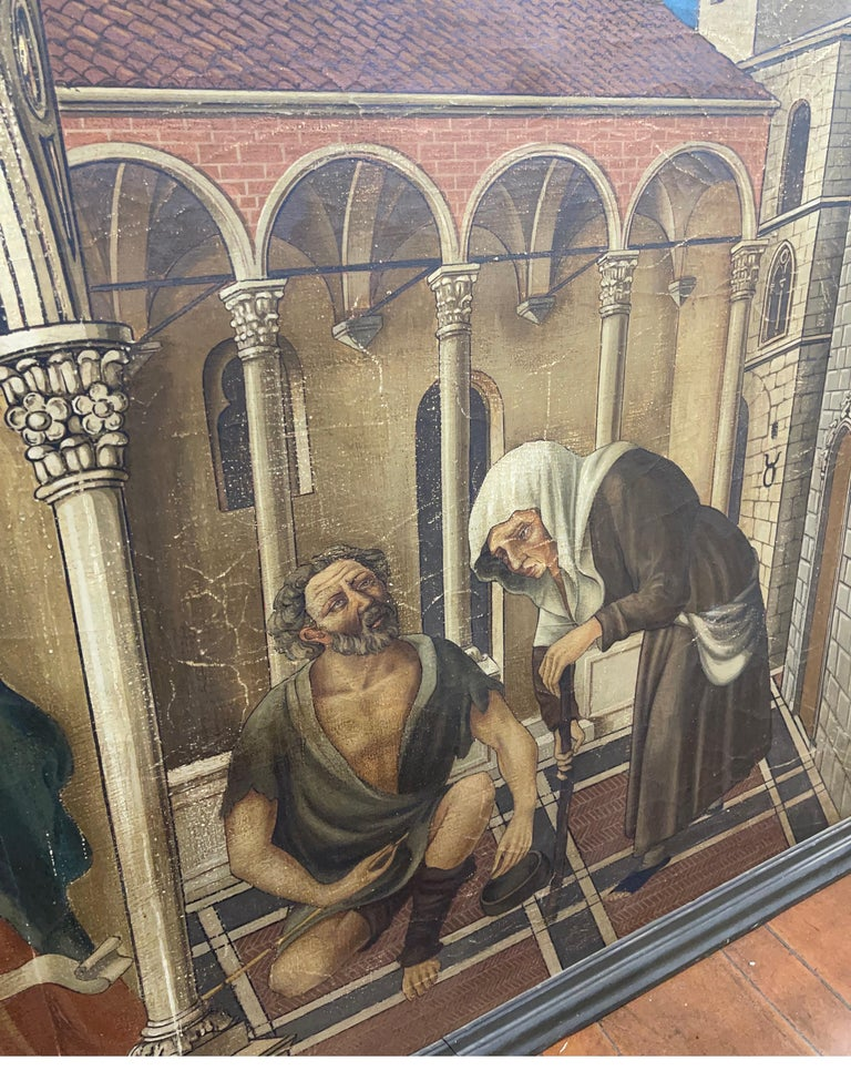 20th Century Gothic Painting Oil on Canvas Gentile da Fabriano, 1900s For Sale 1