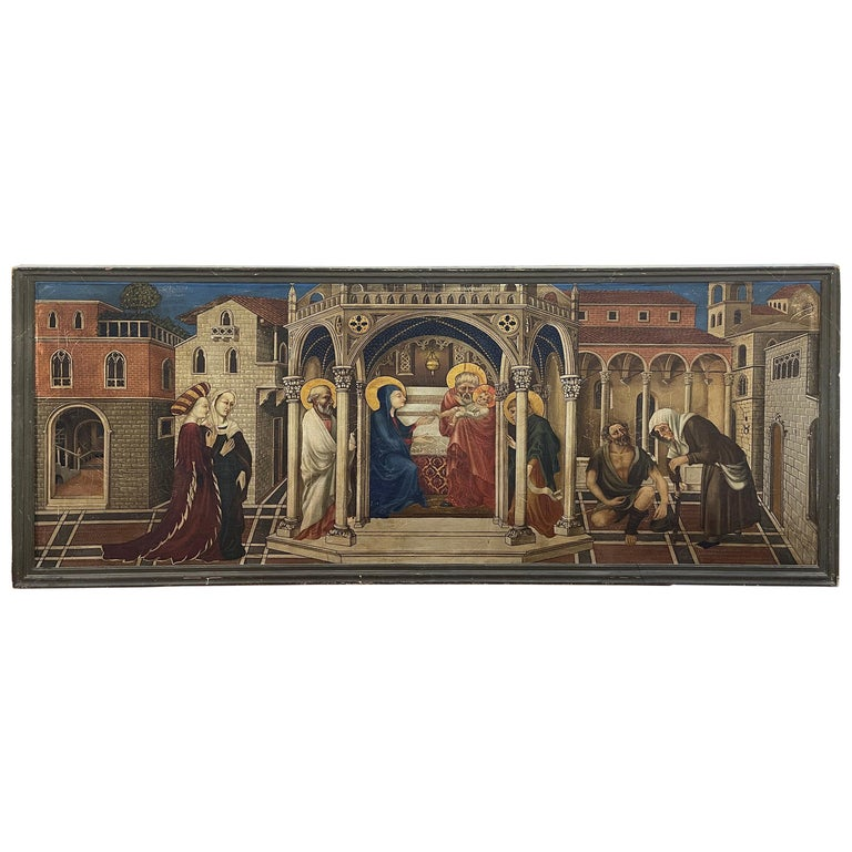 20th Century Gothic Painting Oil on Canvas Gentile da Fabriano, 1900s For Sale