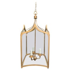 20th Century Gothic Style Custom Gilded Three-Light Lantern