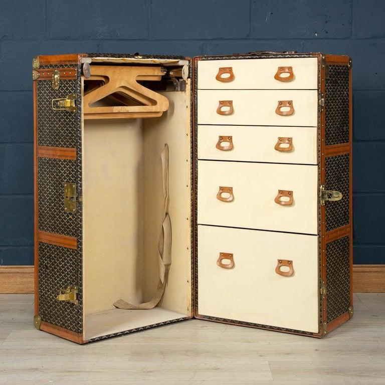 20th Century Goyard Large Wardrobe Trunk, circa 1920 For Sale 3