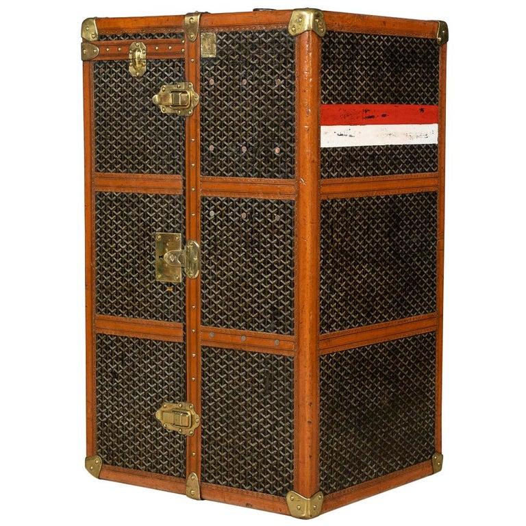 20th Century Goyard Large Wardrobe Trunk, circa 1920 For Sale