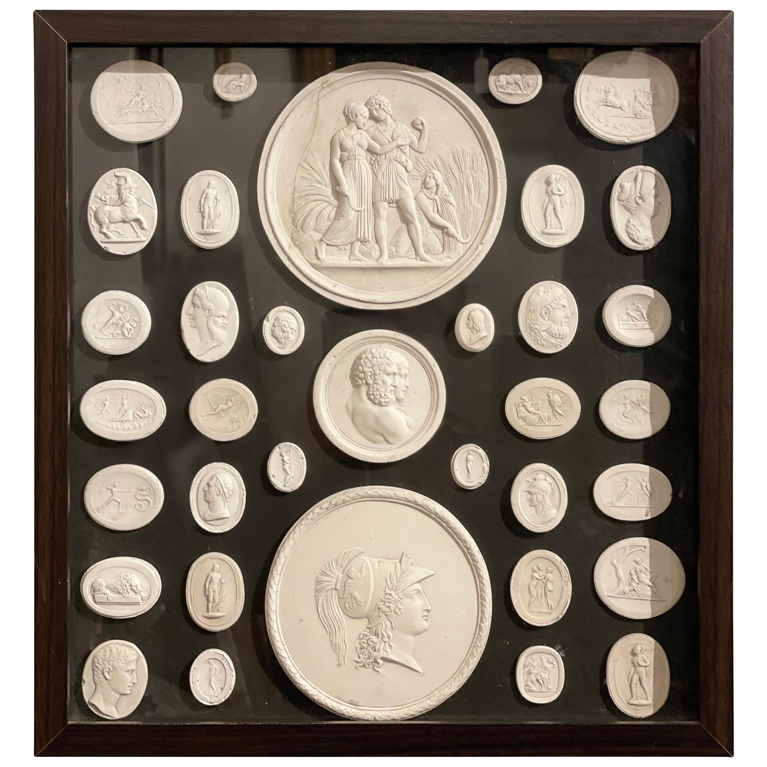 20th Century Grand Tour Neoclassical Cameos Collection with Frame