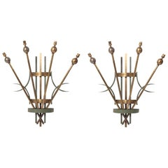 20th Century Great Pair of Art Deco Wall Sconces