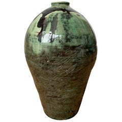 20th Century Green and Brown Glazed Earthenware Pottery Vase