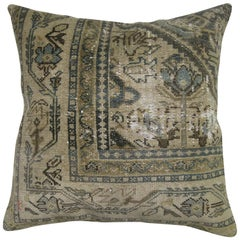 20th Century Green Beige Slate Color Antique Shabby Chic Persian Rug Pillow