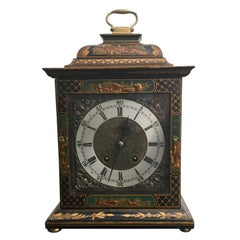 20th Century Green Chinoiserie Georgian Style Mantel Clock