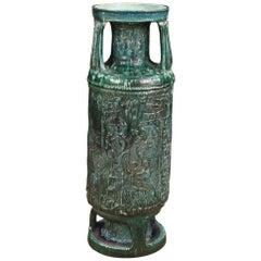 20th Century Green Glazed Terracotta Italian Vase, 1970