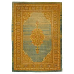 20th Century Green, Gold, Pink White Abrash Amritsar Rug from India, circa 1870s