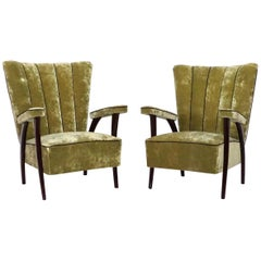 20th Century Green Italian Pair of Lounge Chairs by Paolo Buffa