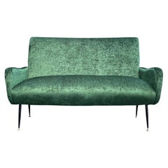 20th Century Green Italian Small Two Seater Sofa, Iron Settee by Marco Zanuso