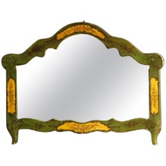 20th Century Green Lacquered and Painted Wood Venetian Mirror, 1950